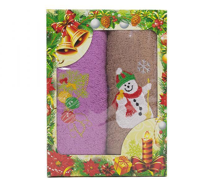 Салфетки 45х60см 2 пр. Новый год Снеговик игрушки