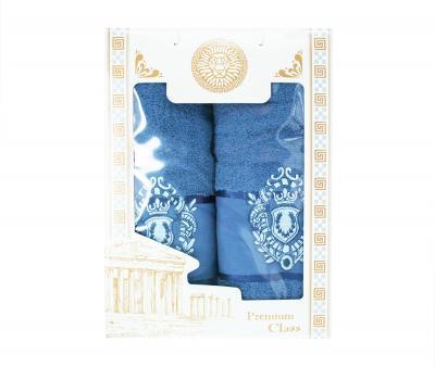 Набор полотенец махровых в коробке 50х90+70х140 Оксфорд Серо-Синий