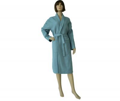 Халат женский вафельный серо-голубой