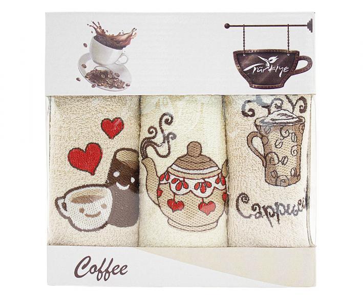 Салфетки 30х50см 3пр. Кофе/Фреш махровые Cappuccino love