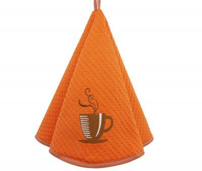 Полотенце кухонное вафельное круглое 60 см Оранжевый кружка