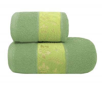 Полотенце махровое Турция 480 гр Дорук Золотые Лилии Зеленый