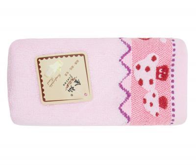 Полотенце детское махровое 25х50 Грибочки Розовое