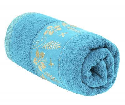 Полотенце махровое Турция 480 гр Дорук Золотые Лилии Голубой