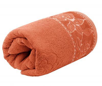 Полотенце махровое Турция 480 гр Дорук Золотые Розы Оранжевый