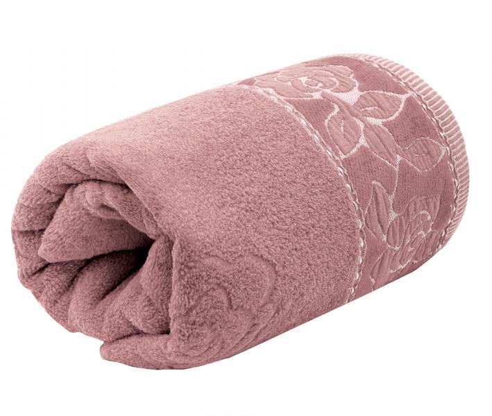 Полотенце махровое Турция 480 гр Дорук Золотые Розы Розовый Светлый