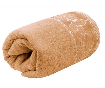 Полотенце махровое Турция 480 гр Дорук Золотые Розы  Бежевый Темный