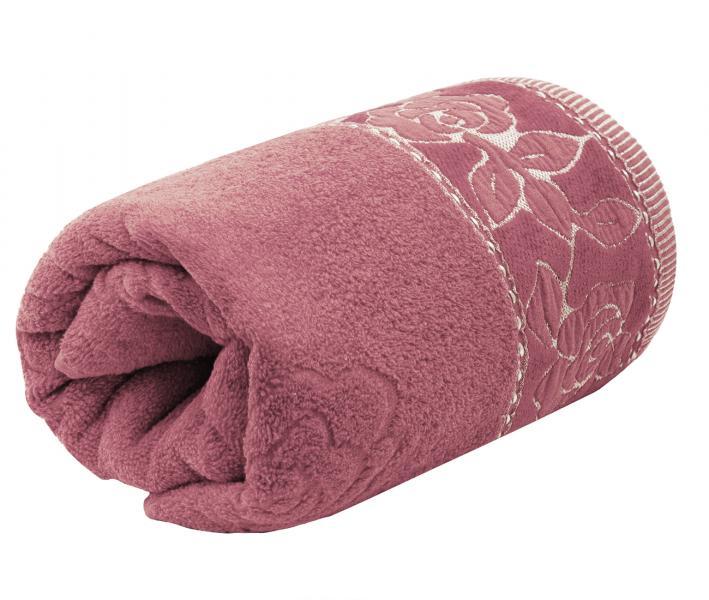 Полотенце махровое Турция 480 гр Дорук Золотые Розы  Розовый Темный