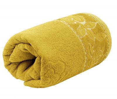 Полотенце махровое Турция 480 гр Дорук Золотые Розы  Жёлтый