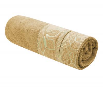 Полотенце махровое Турция 480 гр Дорук Золотые Листья Темный Бежевый