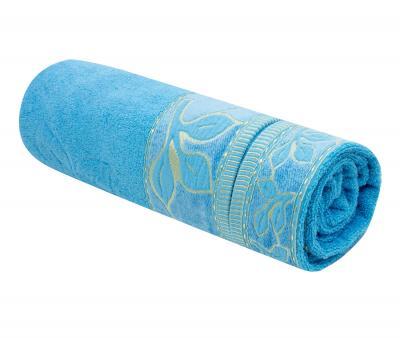 Полотенце махровое Турция 480 гр Дорук Золотые Листья Голубой