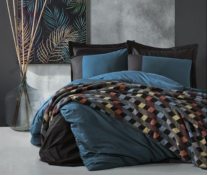 Комплект постельного белья Коттон Бокс + плед ранфорс Petrol Siyah