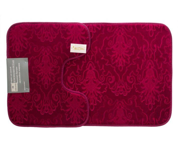 Набор ковриков для ванной 2 предмета Велюр Бордовый