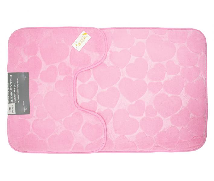 Набор ковриков для ванной 2 предмета Велюр Розовый