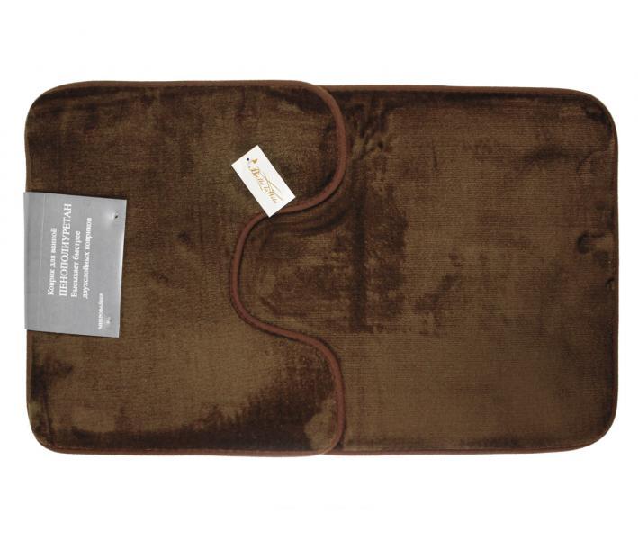 Набор ковриков для ванной 2 предмета Велюр Тёмно-коричневый