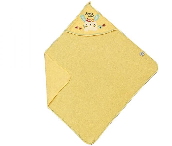 Полотенце детское с капюшоном Ramel 330/340 Цветы кролик жёлтый