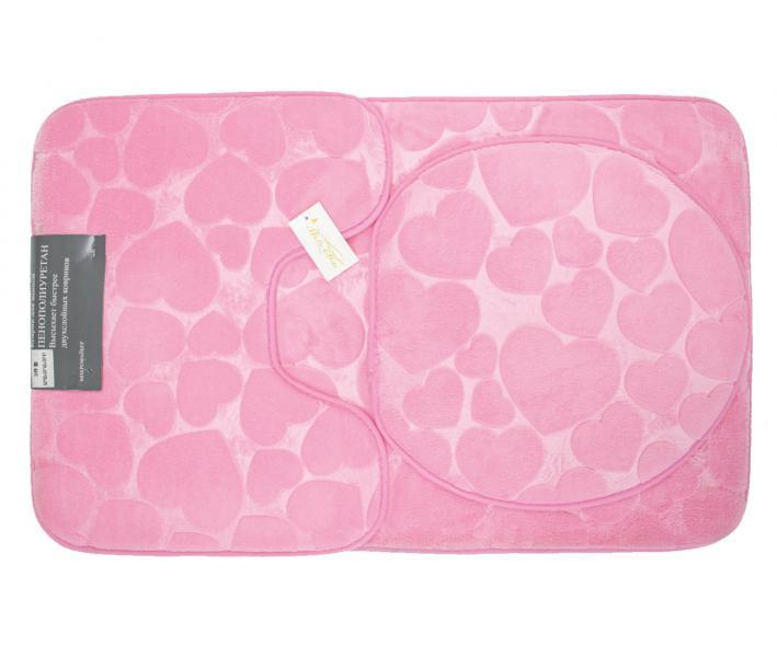 Набор ковриков для ванной 3 предмета Розовый