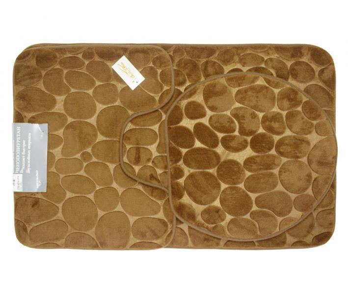 Набор ковриков для ванной 3 предмета Светло-коричневый