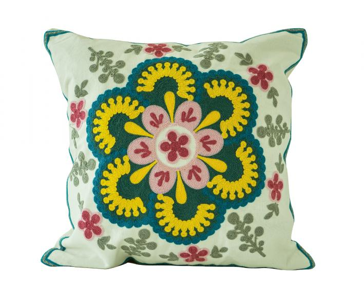 Наволочка декоративная гобелен с вышивкой Синий цветок