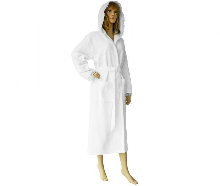 650 Женский халат длинный кружевной белый