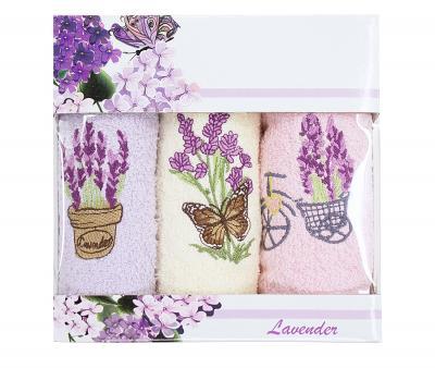 Салфетки 30х50см 3пр. Кофе/Фреш махровые Lavender violet-beige-rose