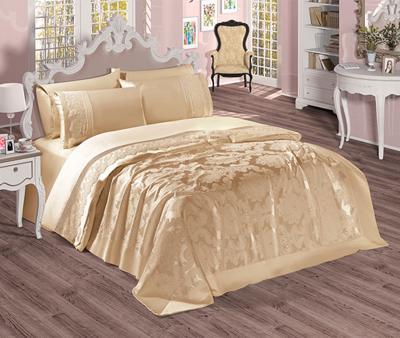 Комплект постельного белья Sekerbibi Pike Takimi + покрывало (6 предметов) Бежевый