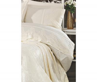 Комплект постельного белья Tivolyo Home Евро+ покрывало 240*260 Arin Krem