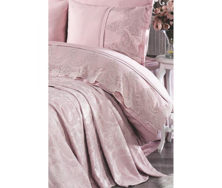 Комплект постельного белья Tivolyo Home Евро+ покрывало 240*260 Arin Pudra