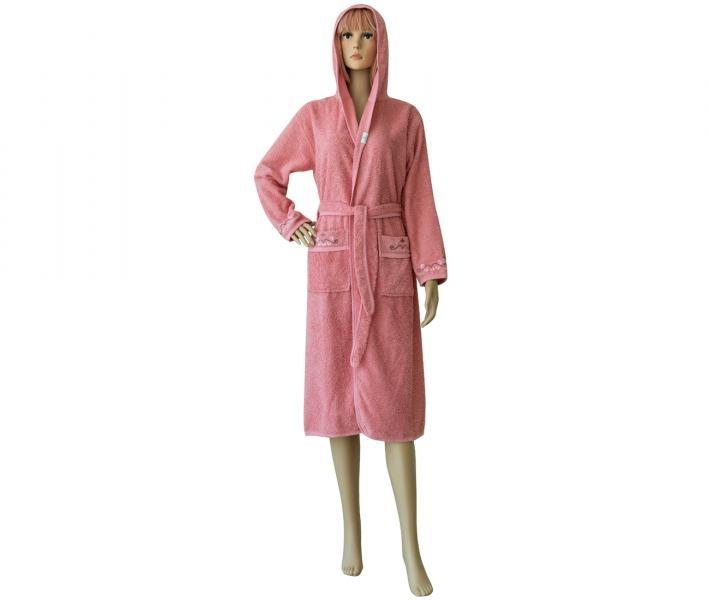 Халат женский длинный с капюшоном 431 Розовый