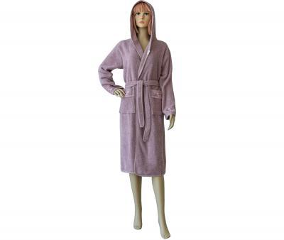 Халат женский длинный с капюшоном 431 Тёмно-розовый
