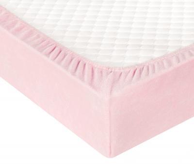 Простынь махровая на резинке Светло-розовый
