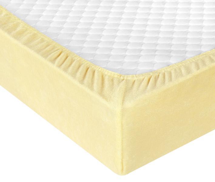 Простынь махровая на резинке Желтый