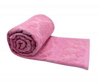 Покрывало постельное махровое жаккард розовый