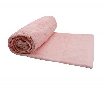 Покрывало постельное махровое жаккард светло-розовый