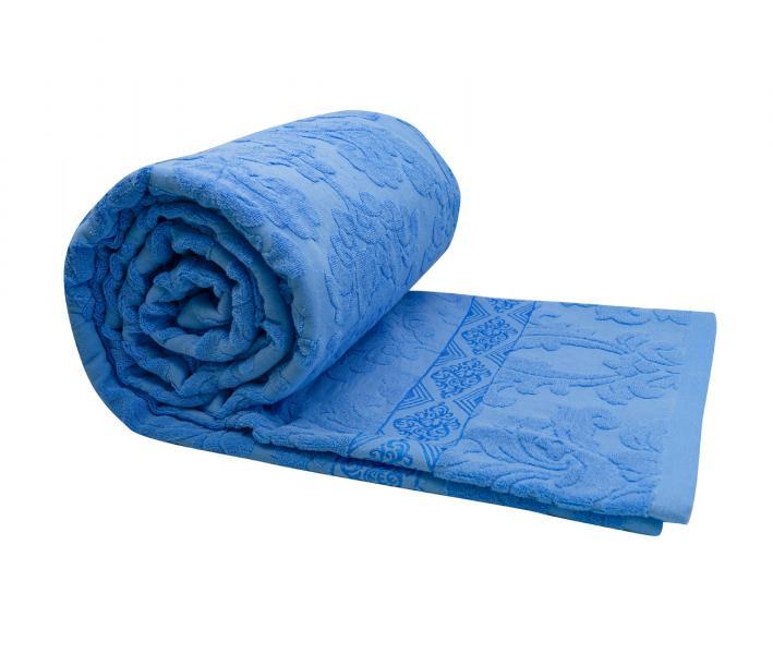 Покрывало постельное махровое жаккард синий