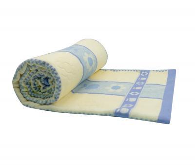 Покрывало постельное махровое жаккард синий бордюр