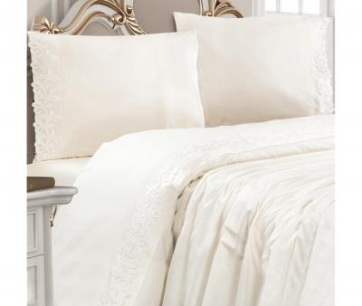 Комплект постельного белья Lotus Home ранфорс с кружевом Beyaz