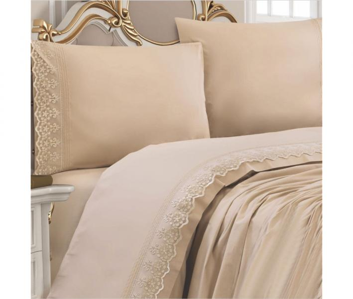 Комплект постельного белья Lotus Home ранфорс с кружевом Cappucino