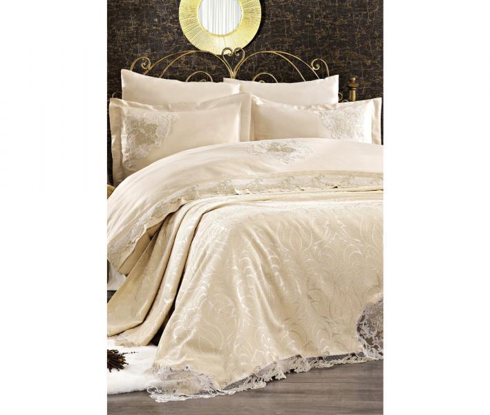Комплект постельного белья Tivolyo Home Евро+ покрывало 240*260 Carina Bej