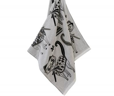 Полотенце Кошки серый
