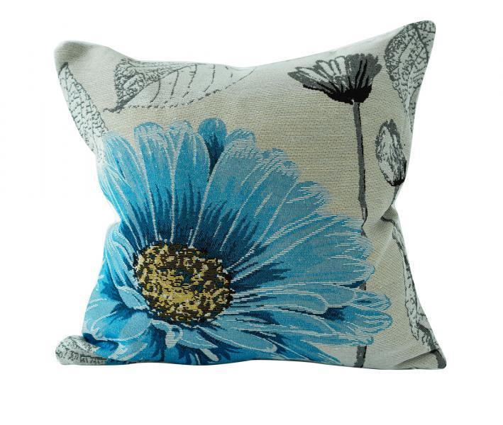 Наволочка декоративная гобелен принт Синий цветок