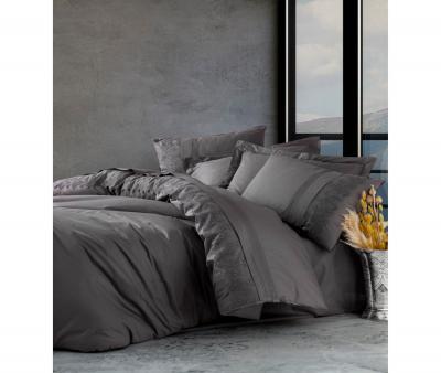 Комплект постельного белья Коттон Бокс Brode Ranforce с гипюром Enzo Antrahcite
