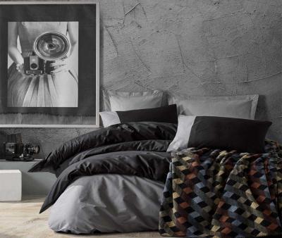 Комплект постельного белья Коттон Бокс + плед ранфорс Gri Siyah