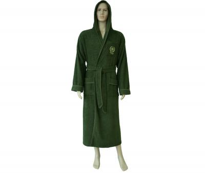 600 Мужской халат длинный с капюшоном хаки