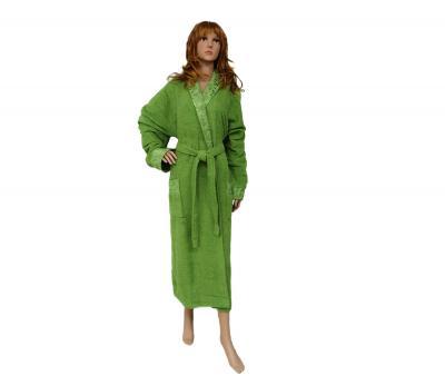 Халат женский жаккард с воротником Зеленый
