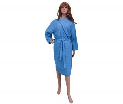 Халат женский вафельный светло-синий