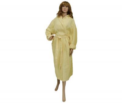 Халат женский вафельный желтый