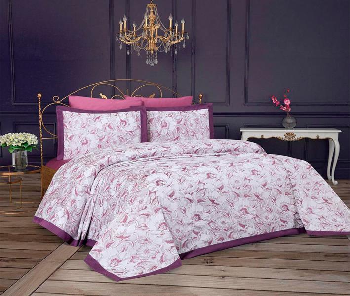 Комплект постельного белья Lotus Home+покрывало Jessica Lilac
