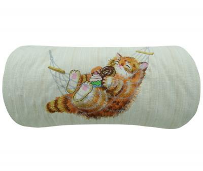 Подушка валик 25х50 бочонок Кот в гамаке