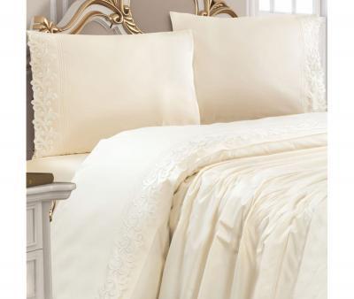 Комплект постельного белья Lotus Home ранфорс с кружевом Krem